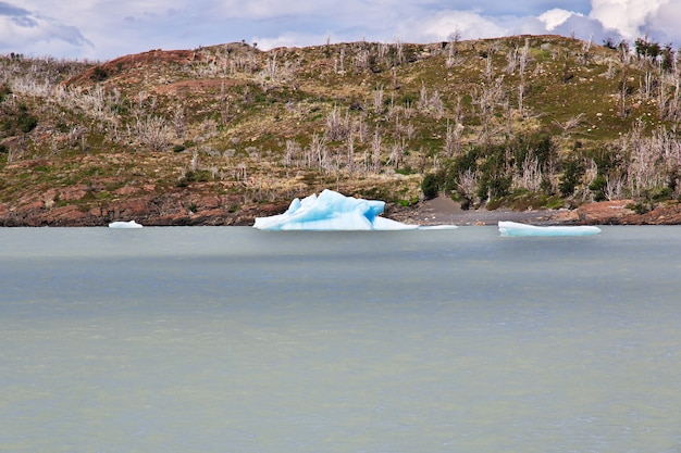 Iceberg on lago gray, torres del paine national park, patagonia, chile