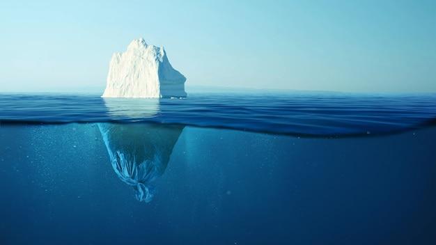 플라스틱 쓰레기 봉투가 있는 빙산, 바다와 자연의 오염 개념. 물 속의 쓰레기와 녹는 빙하. 환경 오염