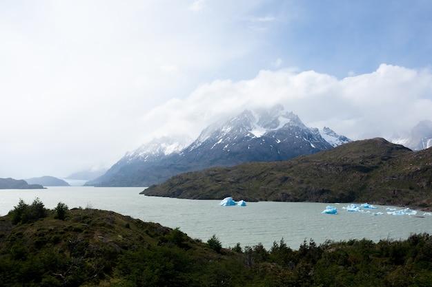 Айсберги на сером озере, национальный парк торрес-дель-пайне, чили. панорама чилийской патагонии
