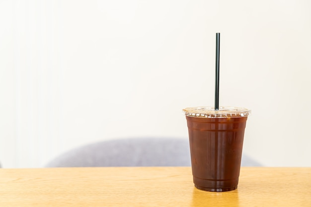 Iced americano coffee in cafe restaurant