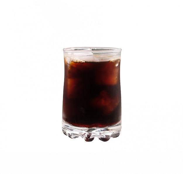 Iced black coffee on white