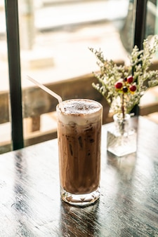Iced chocolate glass in cafe