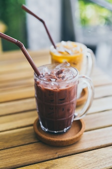 Iced chocolate and iced coffee latte