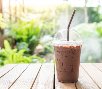 Iced chocolate in cafe