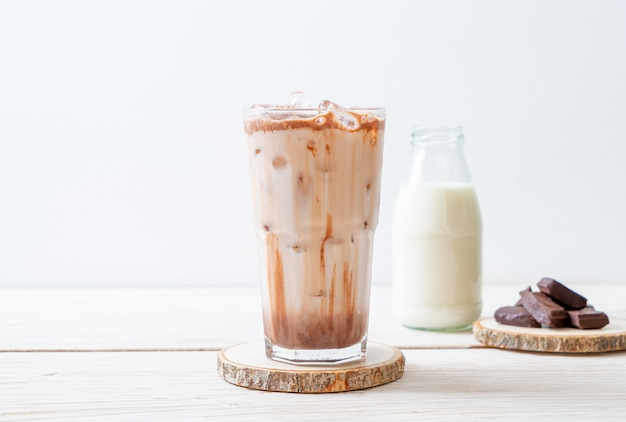 Iced chocolate milkshake drink