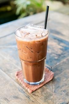 Iced chocolate milkshake glass
