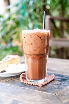 Iced chocolate milkshake glass