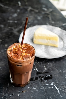 Iced chocolate milkshake
