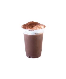 절연 흰색 배경에 아이스 초콜릿입니다.