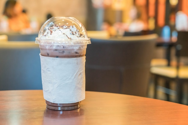 Iced chocolate with whipped cream