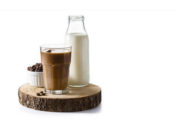 Iced coffee or caffe latte in tall glass
