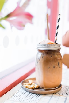 Iced coffee in jar