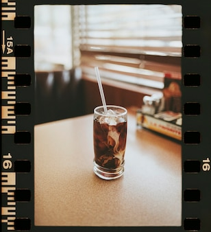 Iced coffee on a table in an american diner