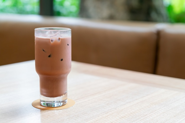 Iced dark chocolate glass in coffee shop cafe and restaurant