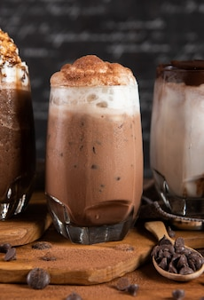 Iced drinks with whipped cream and chocolate