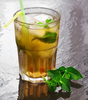 Iced green tea flavored with mint