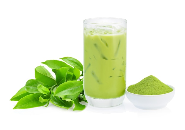 Iced green tea and green tea powder on white background