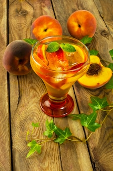 Iced green tea with peaches