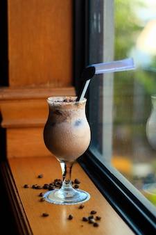 Iced hazelnut coffee in the morning