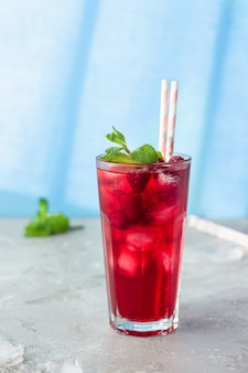Iced hibiscus tea or lemonade with raspberries and mint