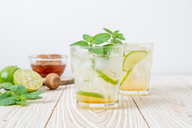 Iced honey and lime soda with mint