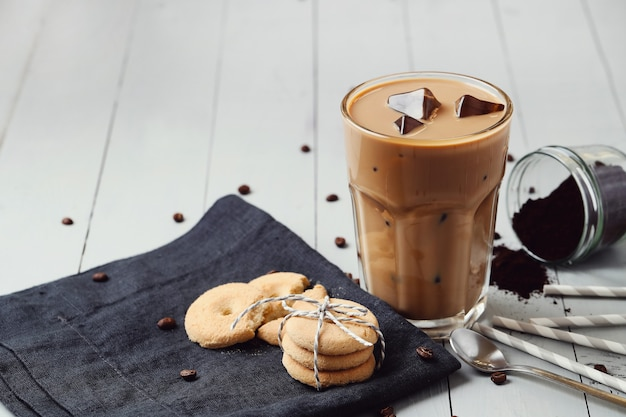 Iced latte coffee. morning breakfast concept