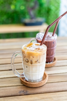 Iced latte coffee with iced chocolate