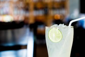 Iced lemon soda glass