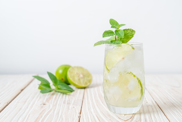 Iced lime soda with mint. refreshing drink