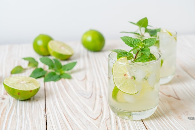 Iced lime soda with mint - refreshing drink