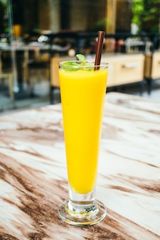 Iced mango smoothie glass