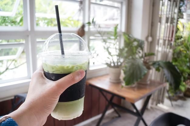 Iced milk green tea drink