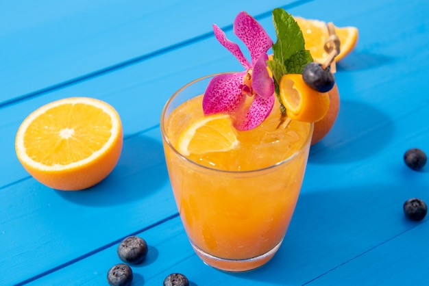 Iced summer orange refreshing drink