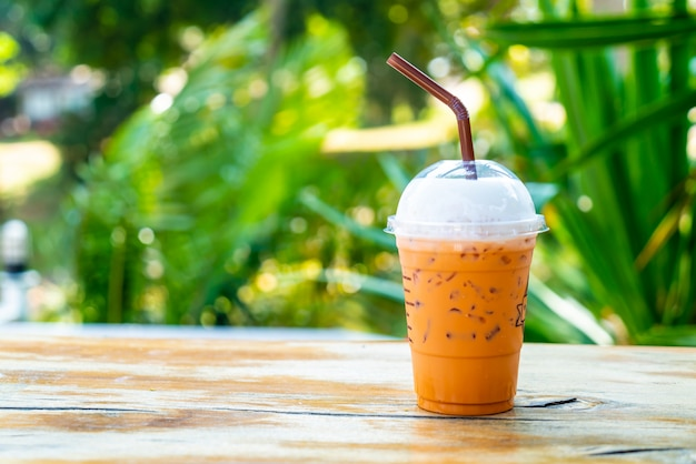 Iced thai milk tea cup