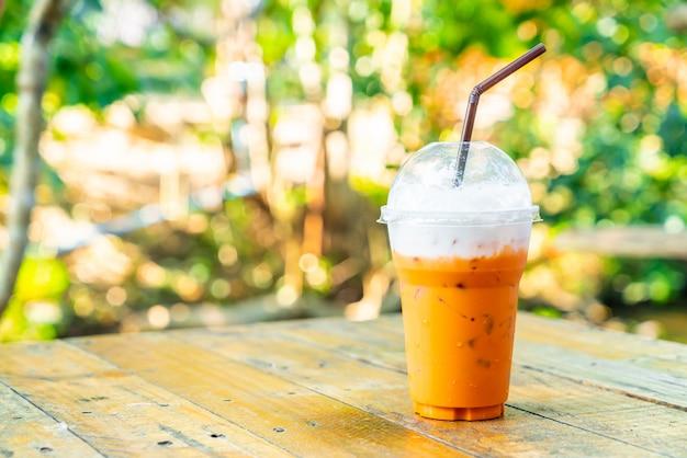Iced thai milk tea cup