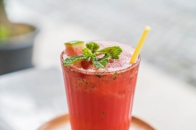 Iced watermelon with mint