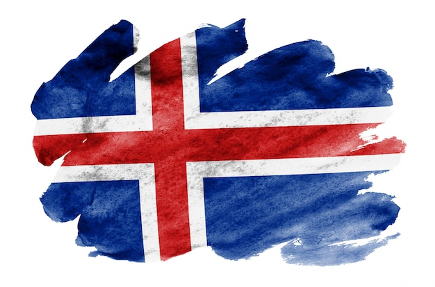 Iceland flag  is depicted in liquid watercolor style isolated on white