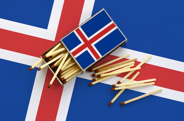 Iceland flag  is shown on an open matchbox, from which several matches fall and lies on a large flag