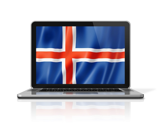 Iceland flag on laptop screen isolated on white. 3d illustration render.