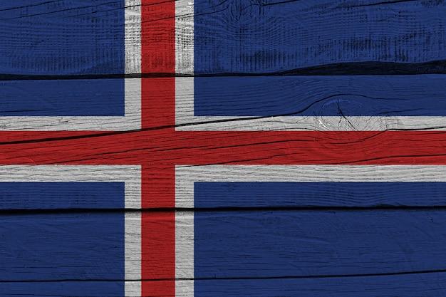 Iceland flag painted on old wood plank