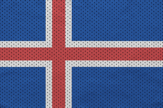 Iceland flag printed on a polyester nylon sportswear mesh fabric
