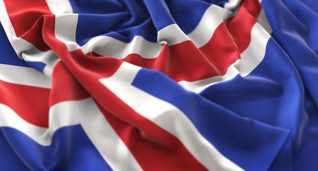 Iceland flag ruffled beautifully waving macro close-up shot