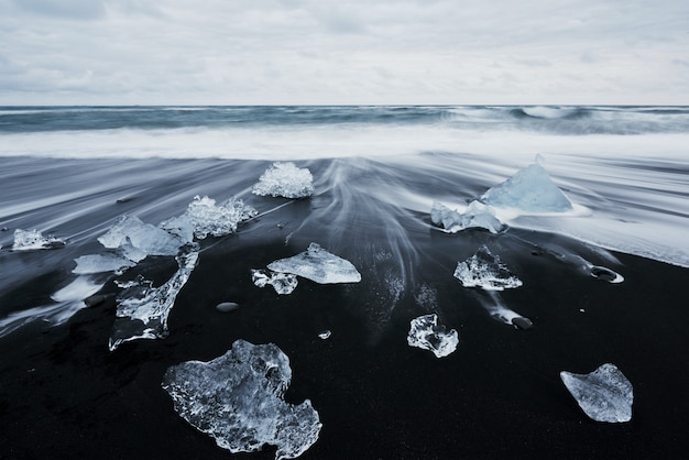 Iceland, jokularlon lagoon, beautiful cold landscape picture of icelandic glacier lagoon bay