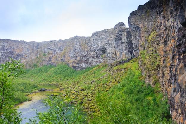Исландский пейзаж. ледниковый каньон асбырги и озеро ботнстьерн, исландия.