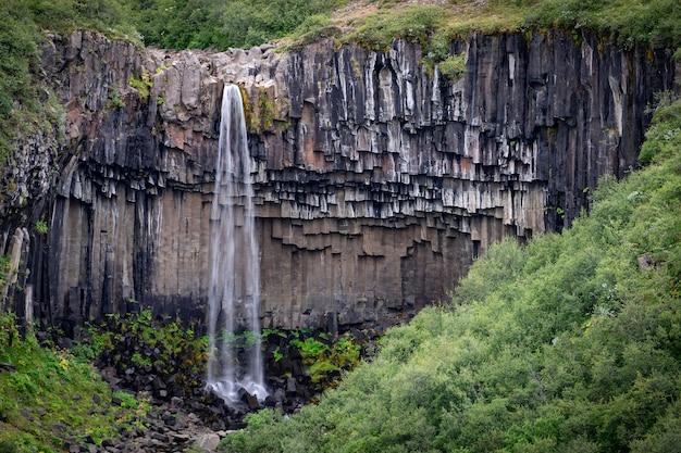 夏の風景の水の長時間露光スムーズな動きと神々の崖のアイスランドの滝のクローズアップビュー。