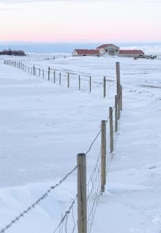 Исландская ферма на заснеженном лугу перед забором