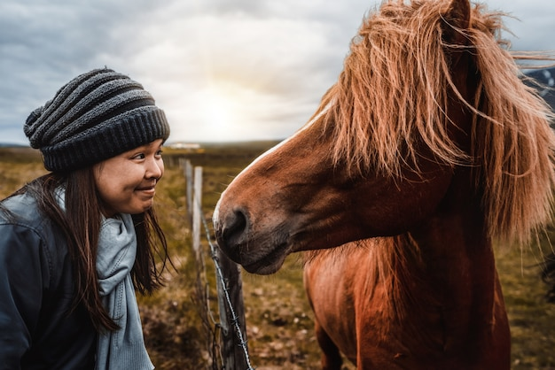 Icelandic horse with woman