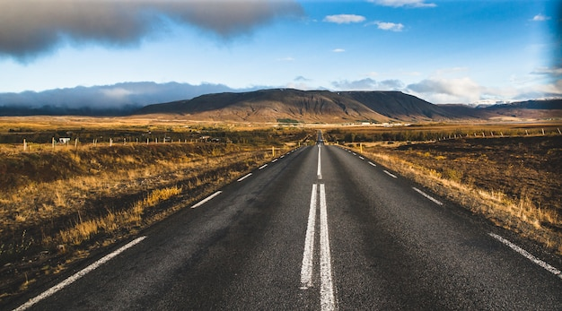 Icelandic lonely road in wild territory with no one in sight