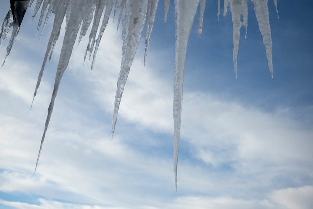 Icicles against cloudy sky,  kicking horse mountain resort, golden, british columbia, canada