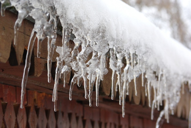 Icicles hanging from the roof